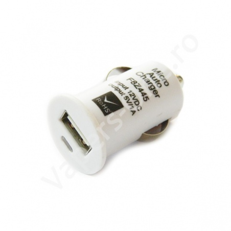 Mini Incarcator auto USB - Griffin alb